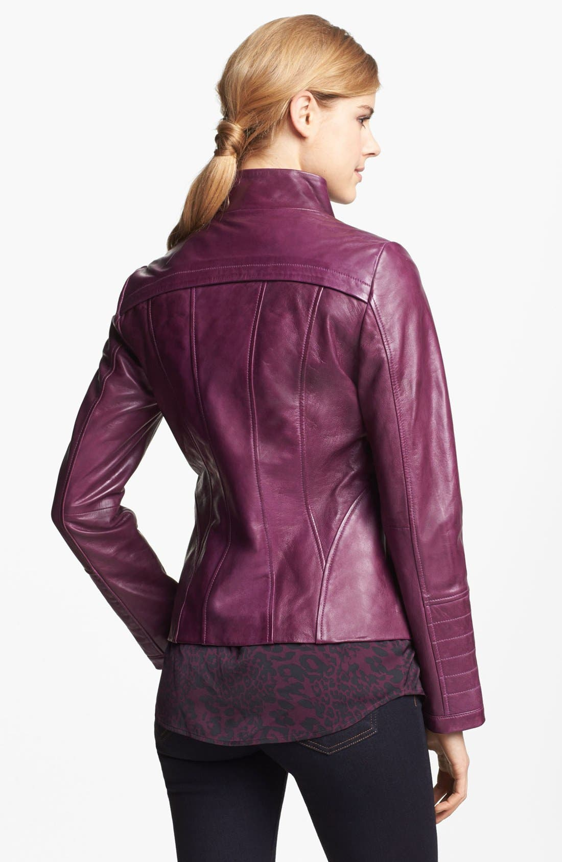 Alternate Image 3  - LaMarque Funnel Neck Leather Jacket