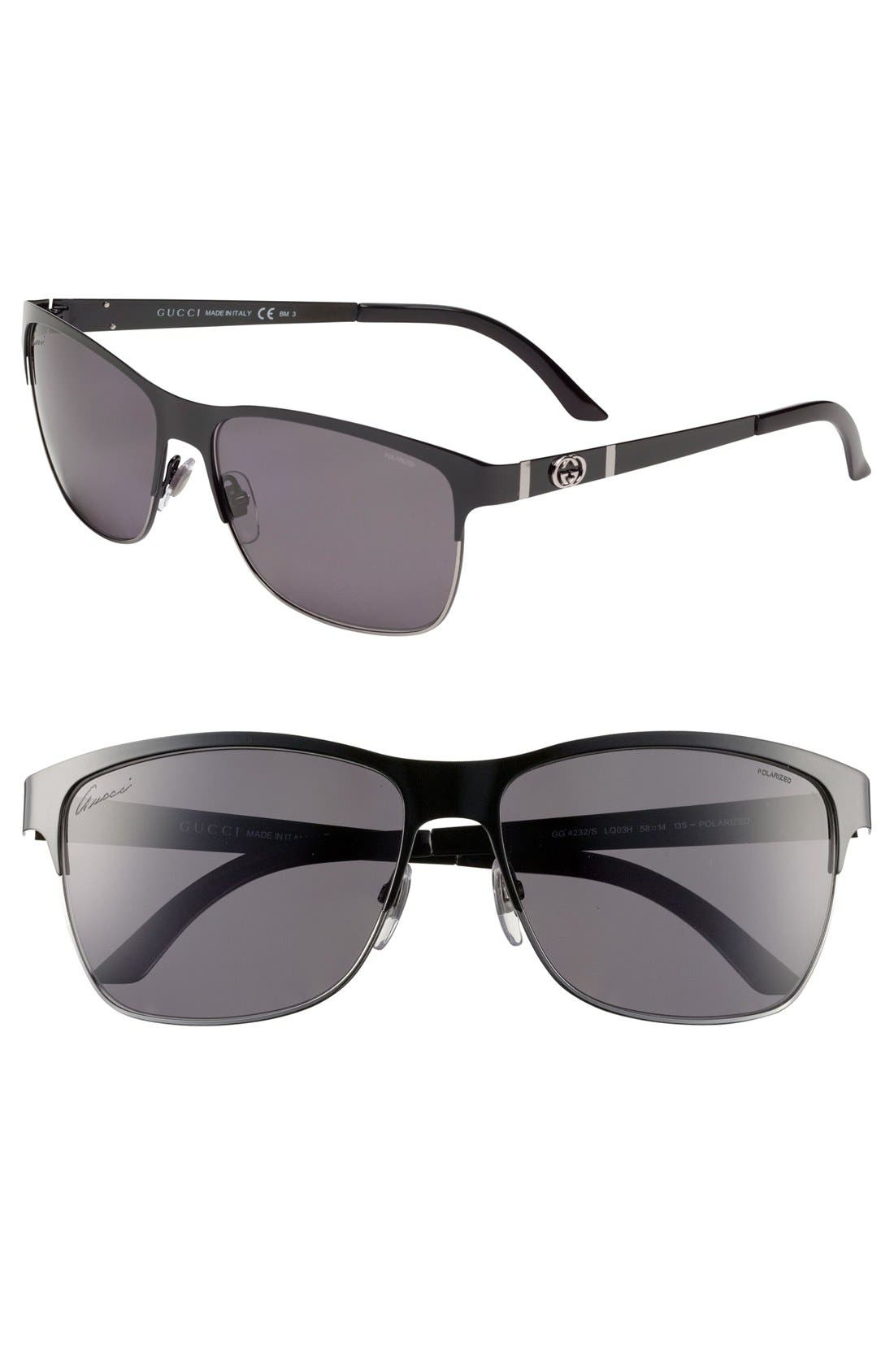 Main Image - Gucci 58mm Polarized Stainless Steel Sunglasses