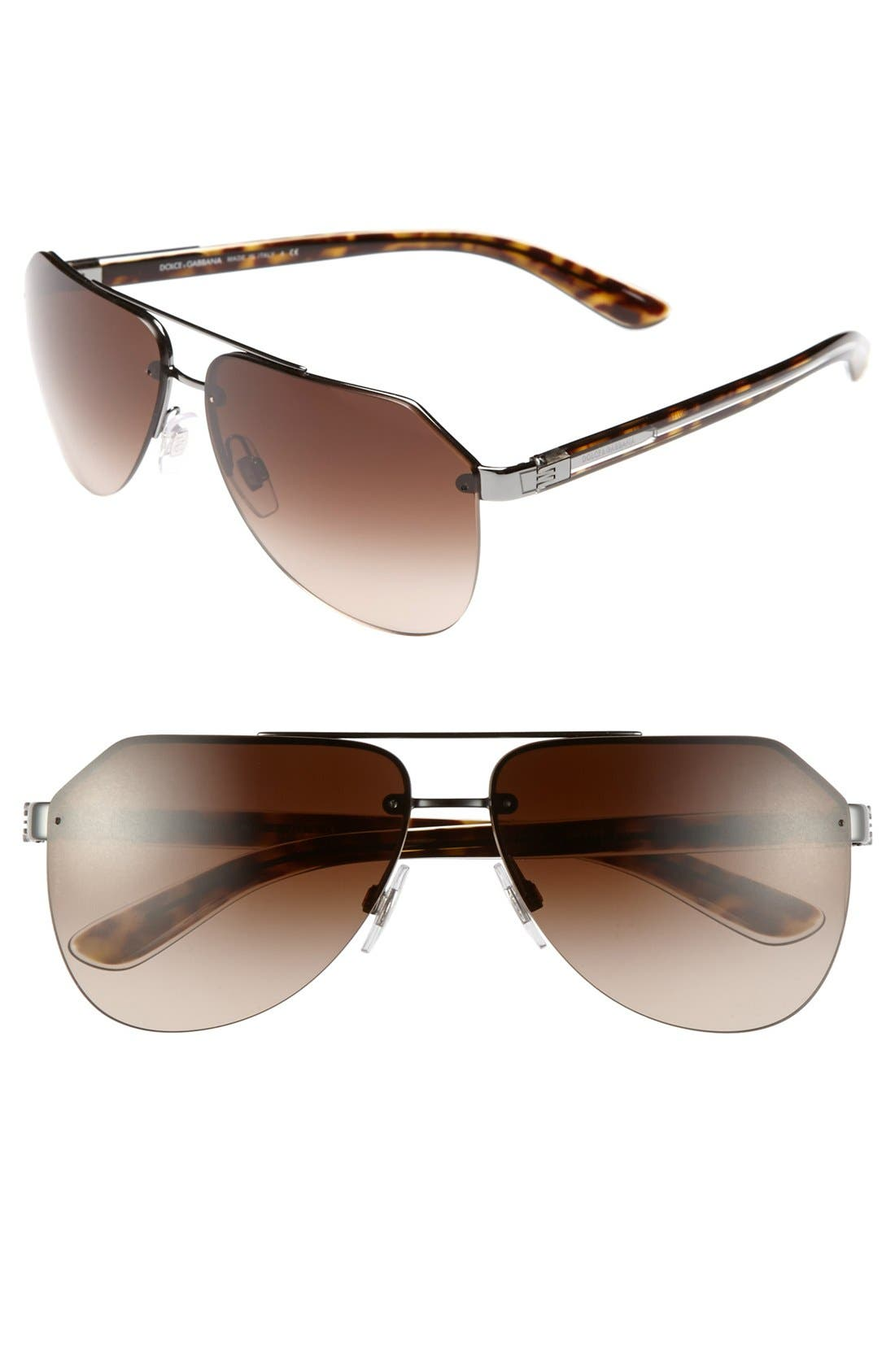 Main Image - Dolce&Gabbana 61mm Polarized Rimless Aviator Sunglasses