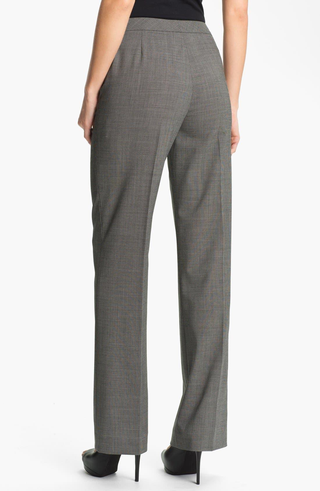 Alternate Image 2  - Lafayette 148 New York Crosshatch Suiting Pants (Petite)