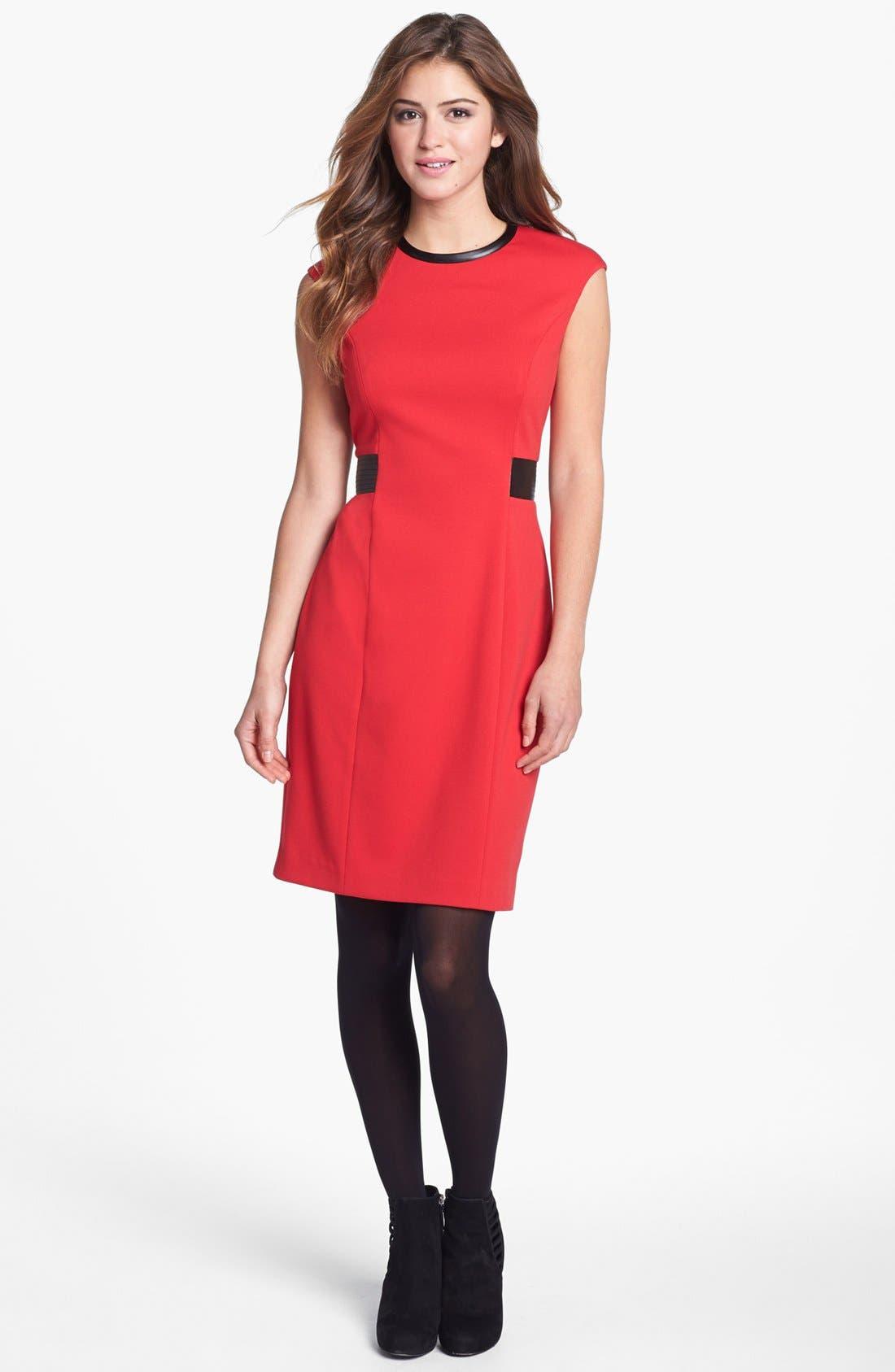 Alternate Image 2  - Calvin Klein Faux Leather Trim Ponte Sheath Dress