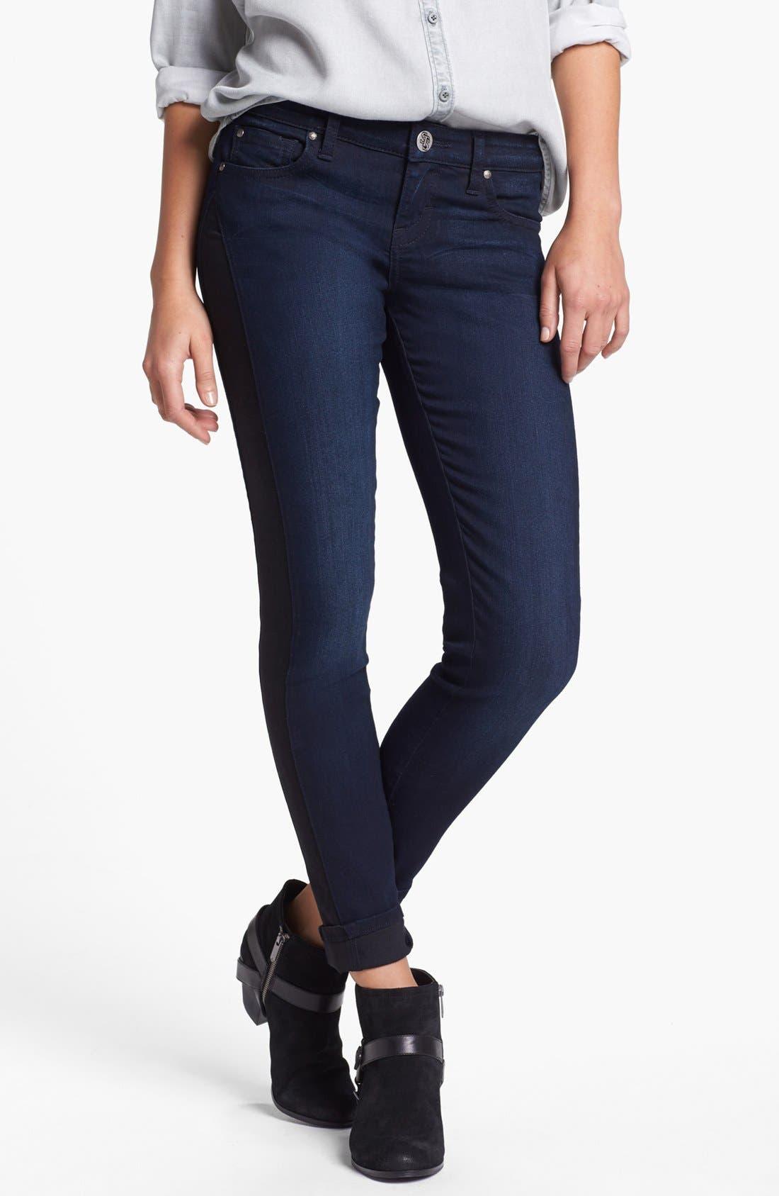 Alternate Image 2  - STS Blue Tuxedo Stripe Skinny Jeans (Medium) (Juniors)