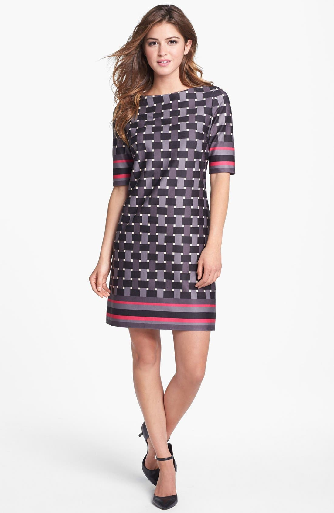 Main Image - Eliza J Elbow Sleeve Geo Print Ponte Shift Dress