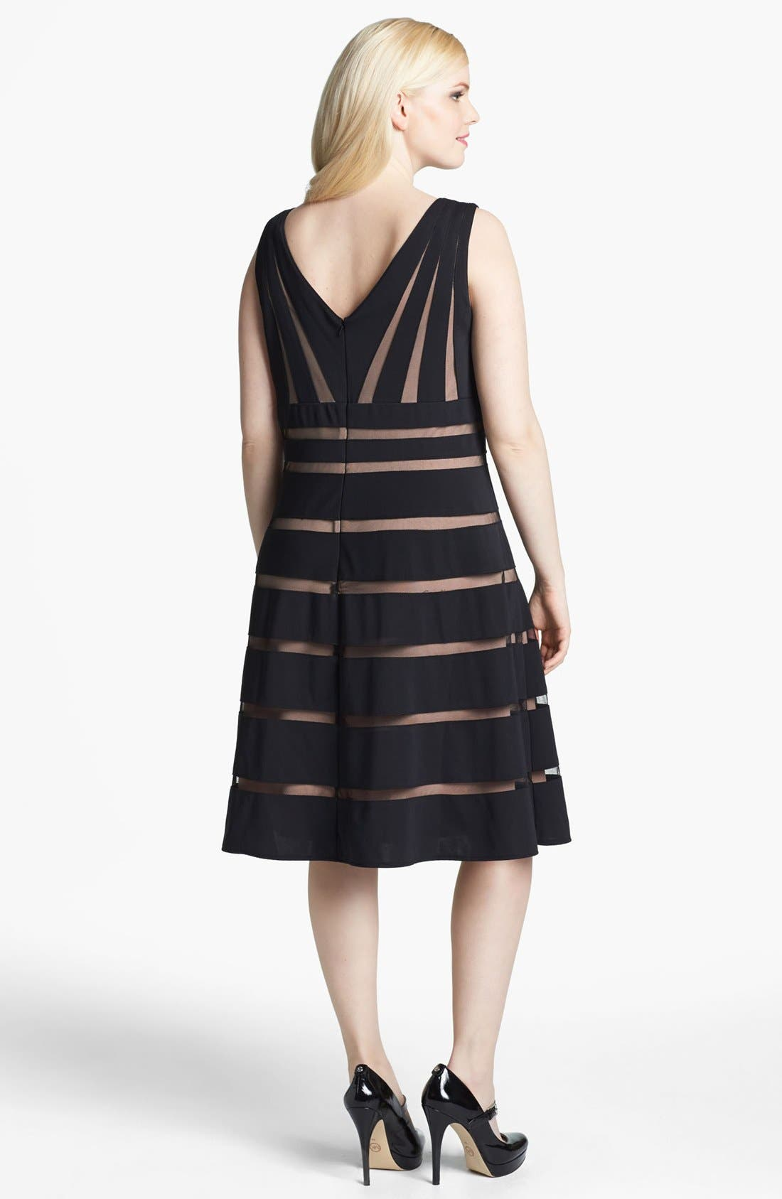 Alternate Image 2  - Xscape Mesh Stripe Fit & Flare Dress (Plus Size)