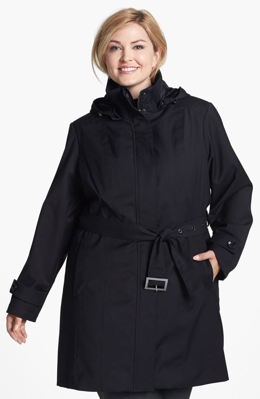 Alternate Image 1  - Kristen Blake Knit Collar Raincoat with Detachable Hood & Liner (Plus Size)