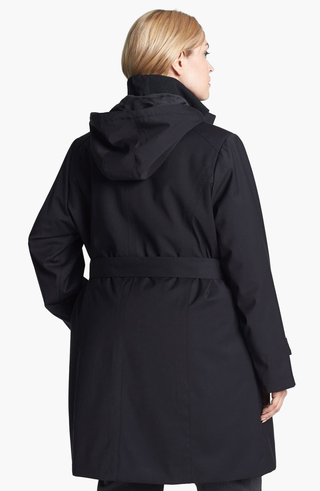 Alternate Image 2  - Kristen Blake Knit Collar Raincoat with Detachable Hood & Liner (Plus Size)