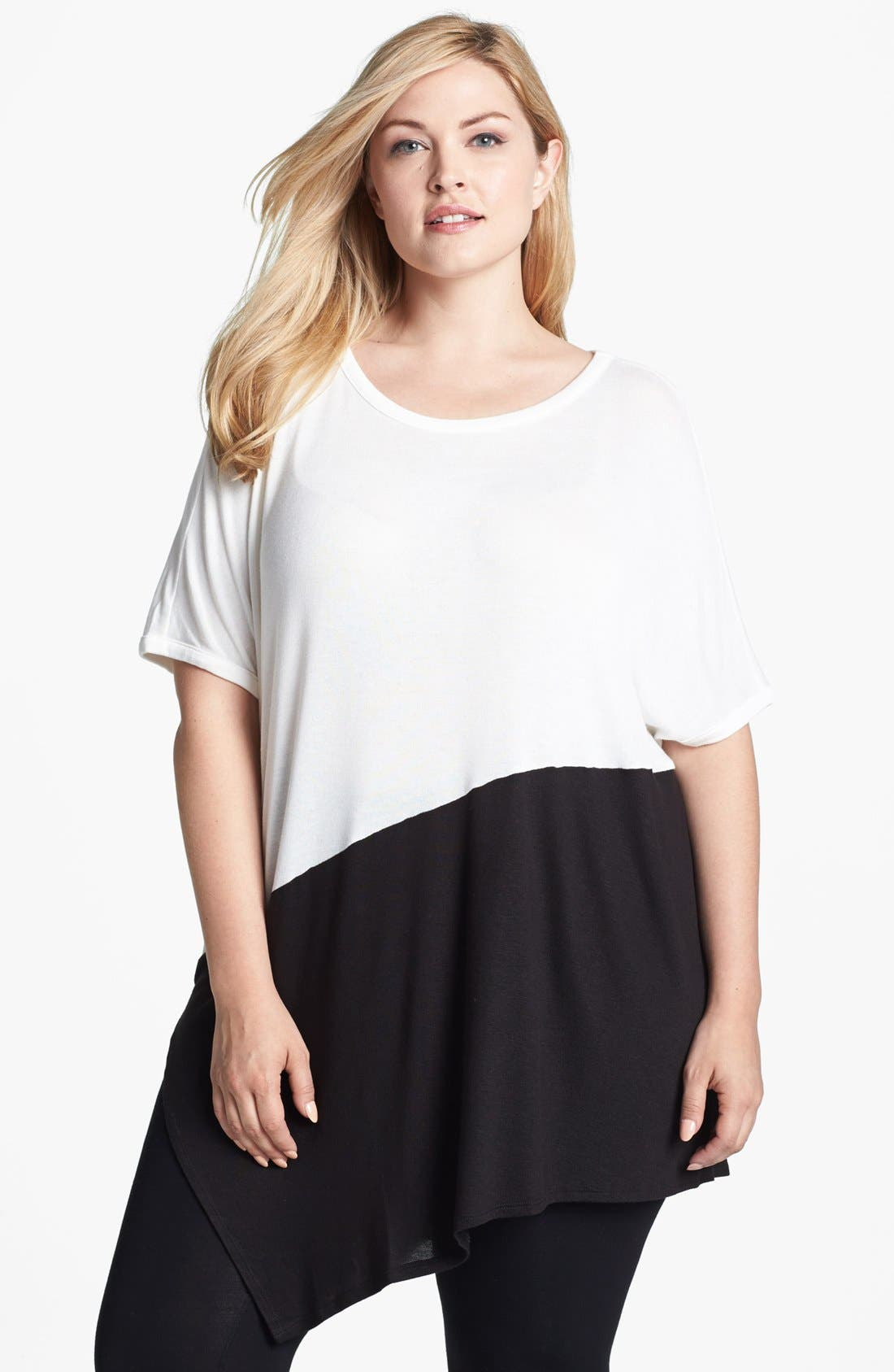 Alternate Image 1 Selected - Three Dots Asymmetrical Colorblock Top (Plus Size)