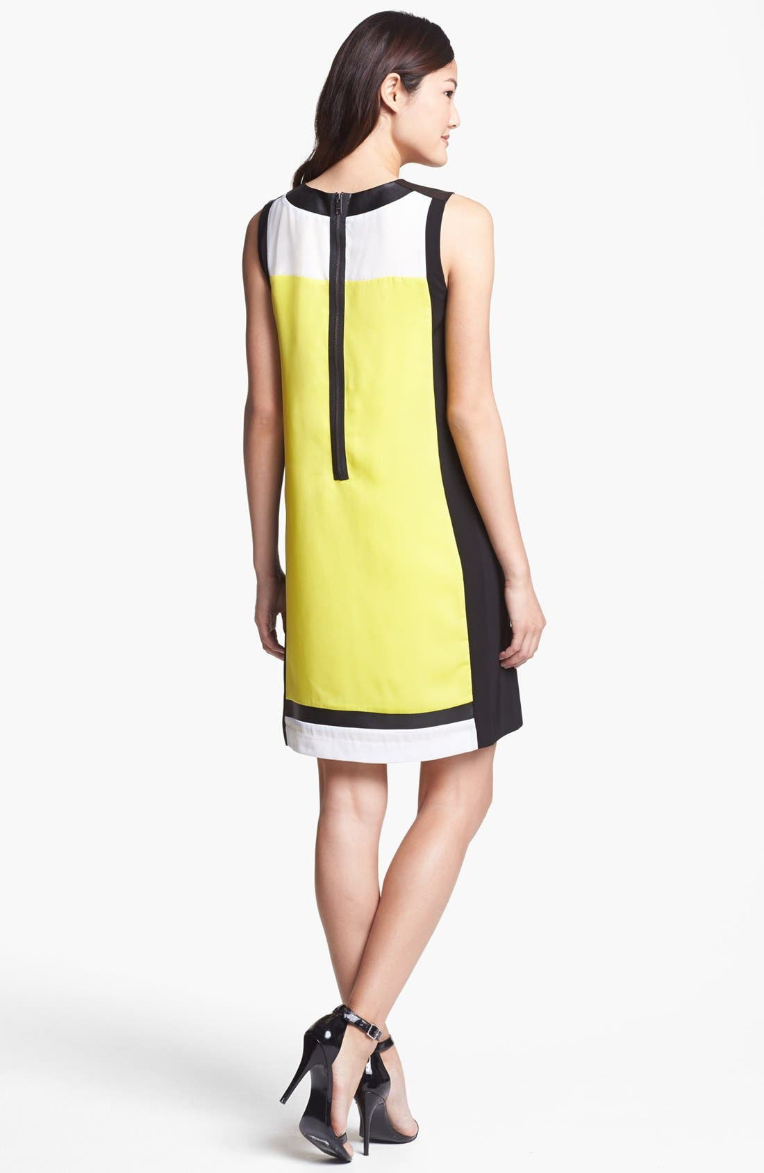 Alternate Image 2  - DKNYC Faux Leather Colorblock Shift Dress