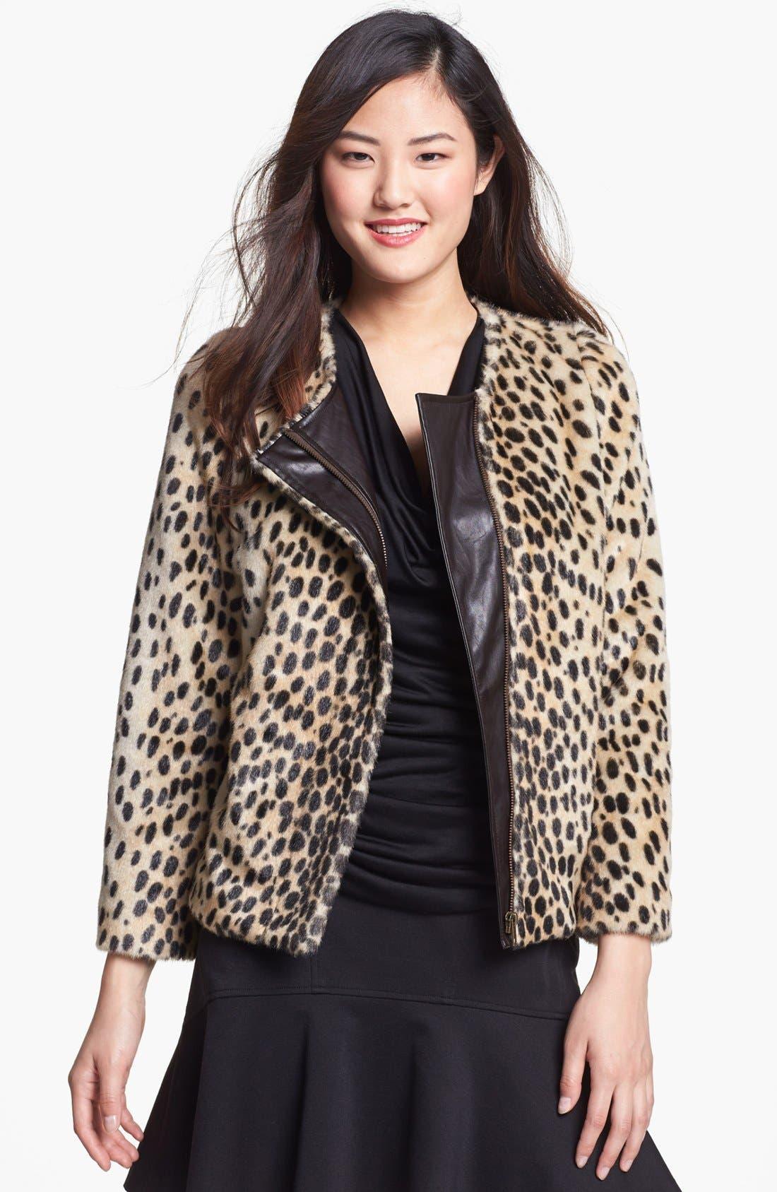 Main Image - Kristen Blake Leopard Spot Faux Fur Jacket