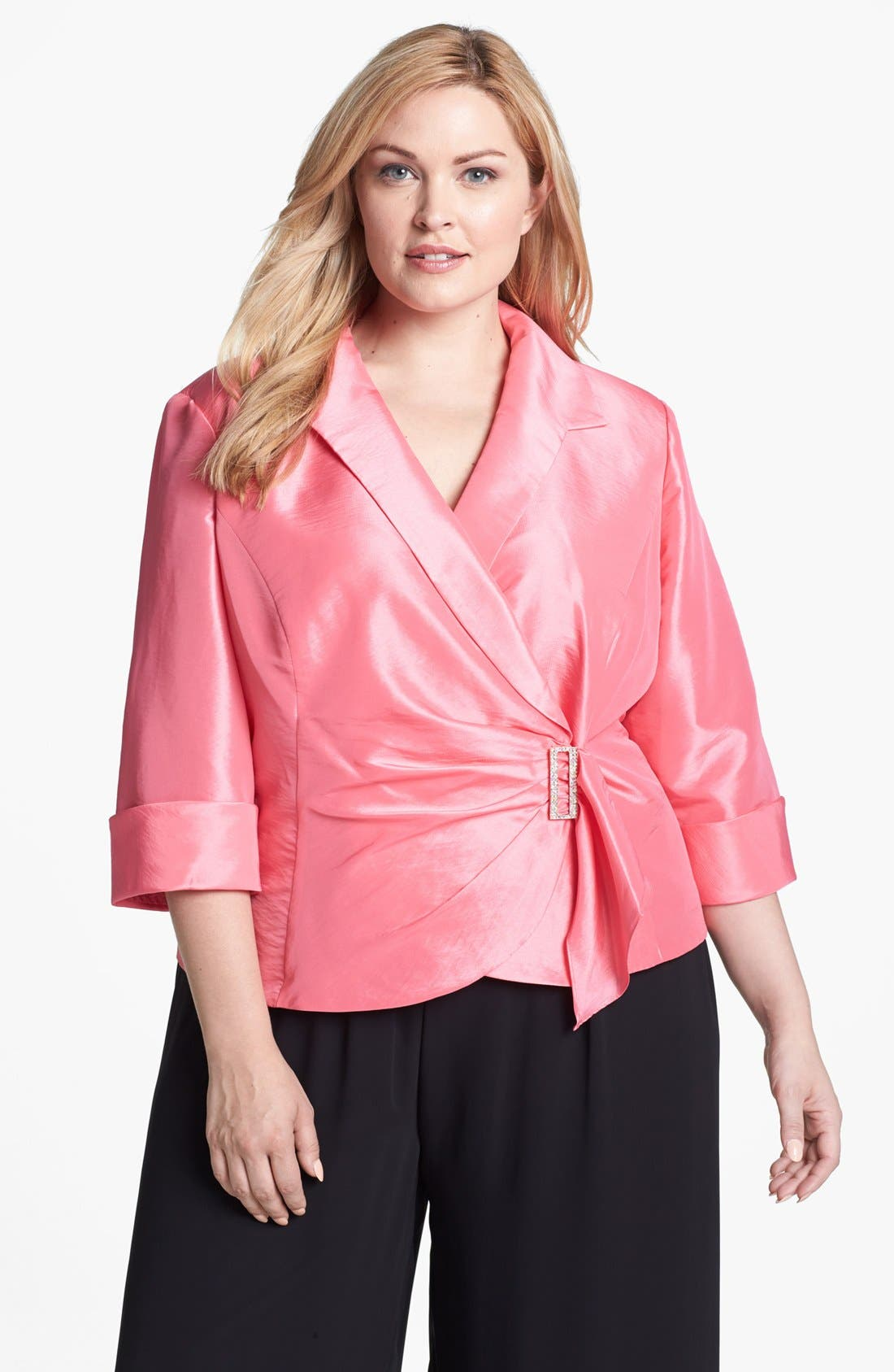 Alternate Image 1 Selected - Alex Evenings Embellished Wrap Blouse (Plus Size)