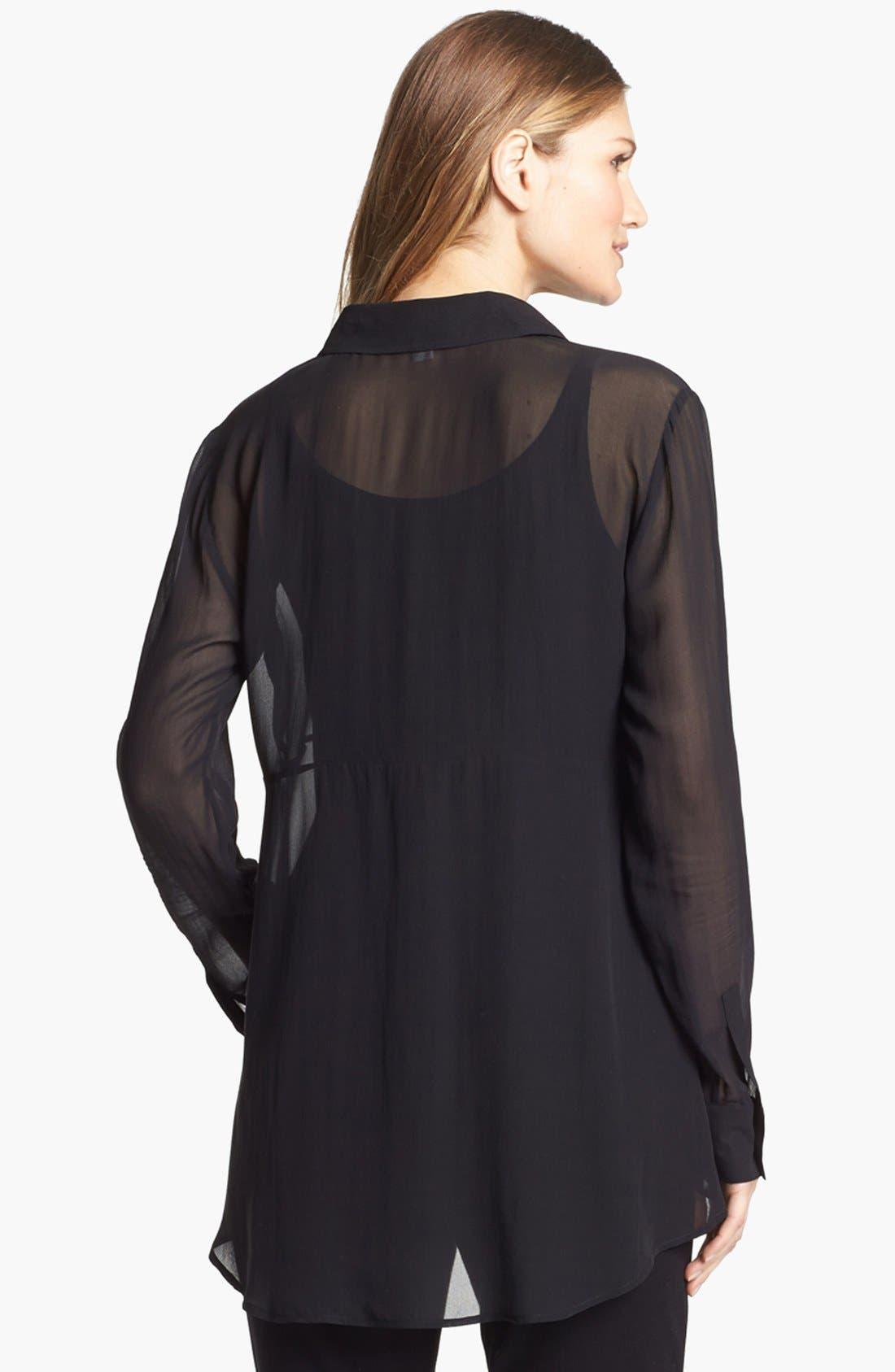 Alternate Image 2  - Eileen Fisher Sheer Silk Georgette Shirt