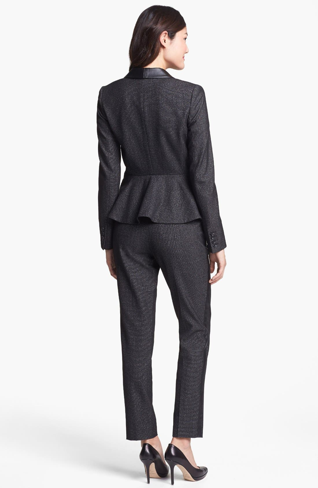 Alternate Image 4  - Vince Camuto Faux Leather Tuxedo Stripe Pants (Petite)