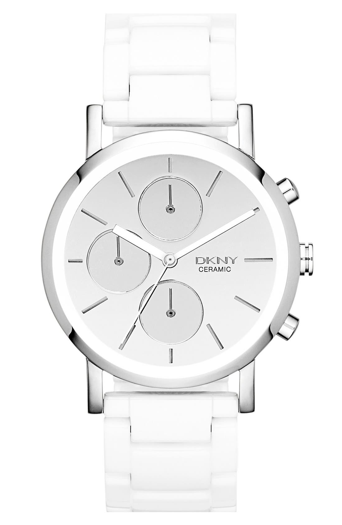 Alternate Image 1 Selected - DKNY 'Chambers' Mirror Dial Ceramic Bracelet Watch, 38mm