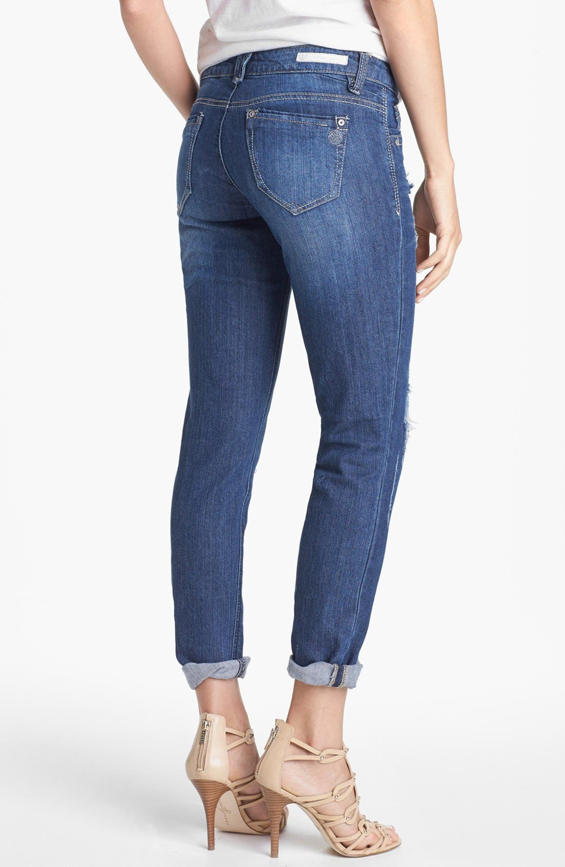 Alternate Image 4  - Wit & Wisdom Distressed Boyfriend Skinny Jeans (Indigo) (Nordstrom Exclusive)
