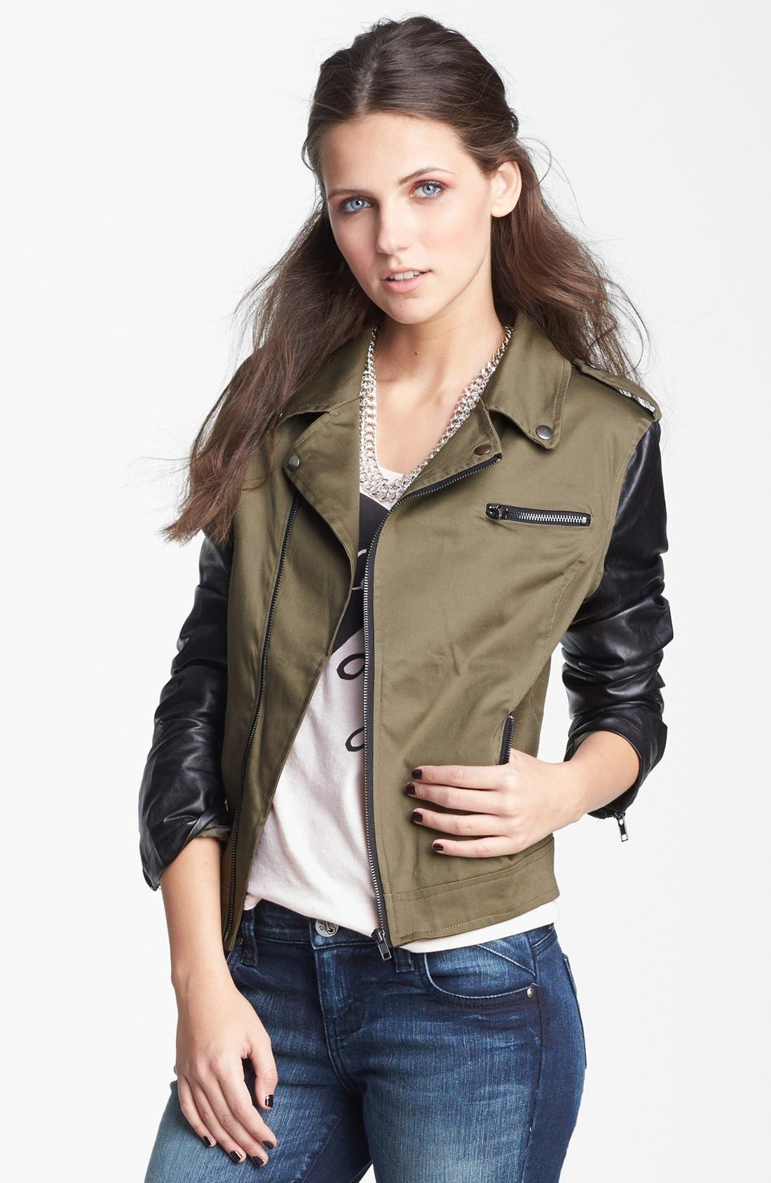 Alternate Image 1 Selected - Coffee Shop Mixed Media Moto Jacket (Juniors) (Online Only)