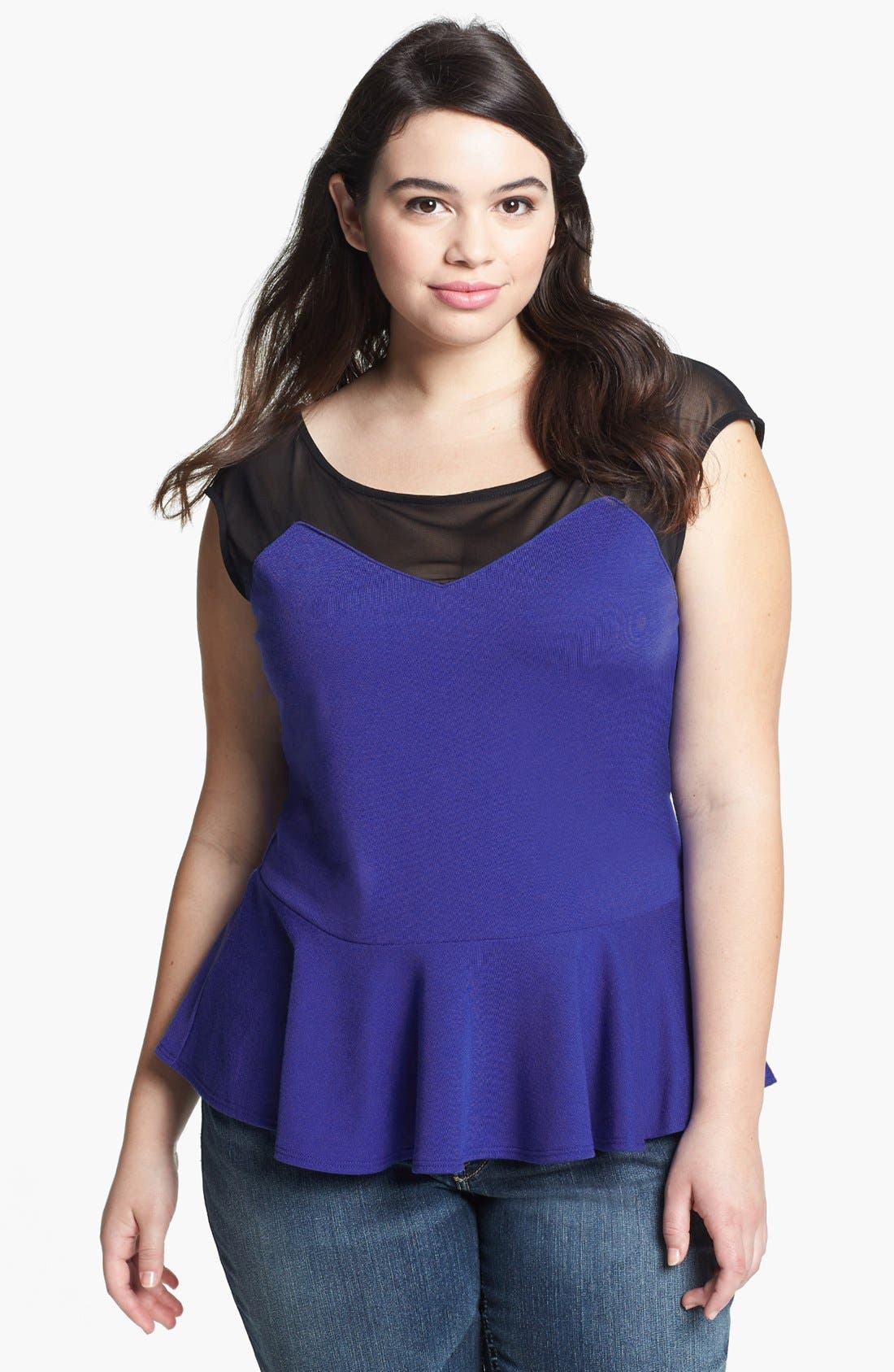Main Image - Soprano Illusion Yoke Peplum Top (Juniors Plus)