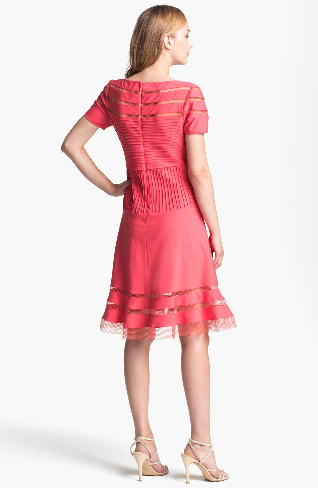 Alternate Image 2  - Tadashi Shoji Mesh Stripe Short Sleeve Fit & Flare Dress