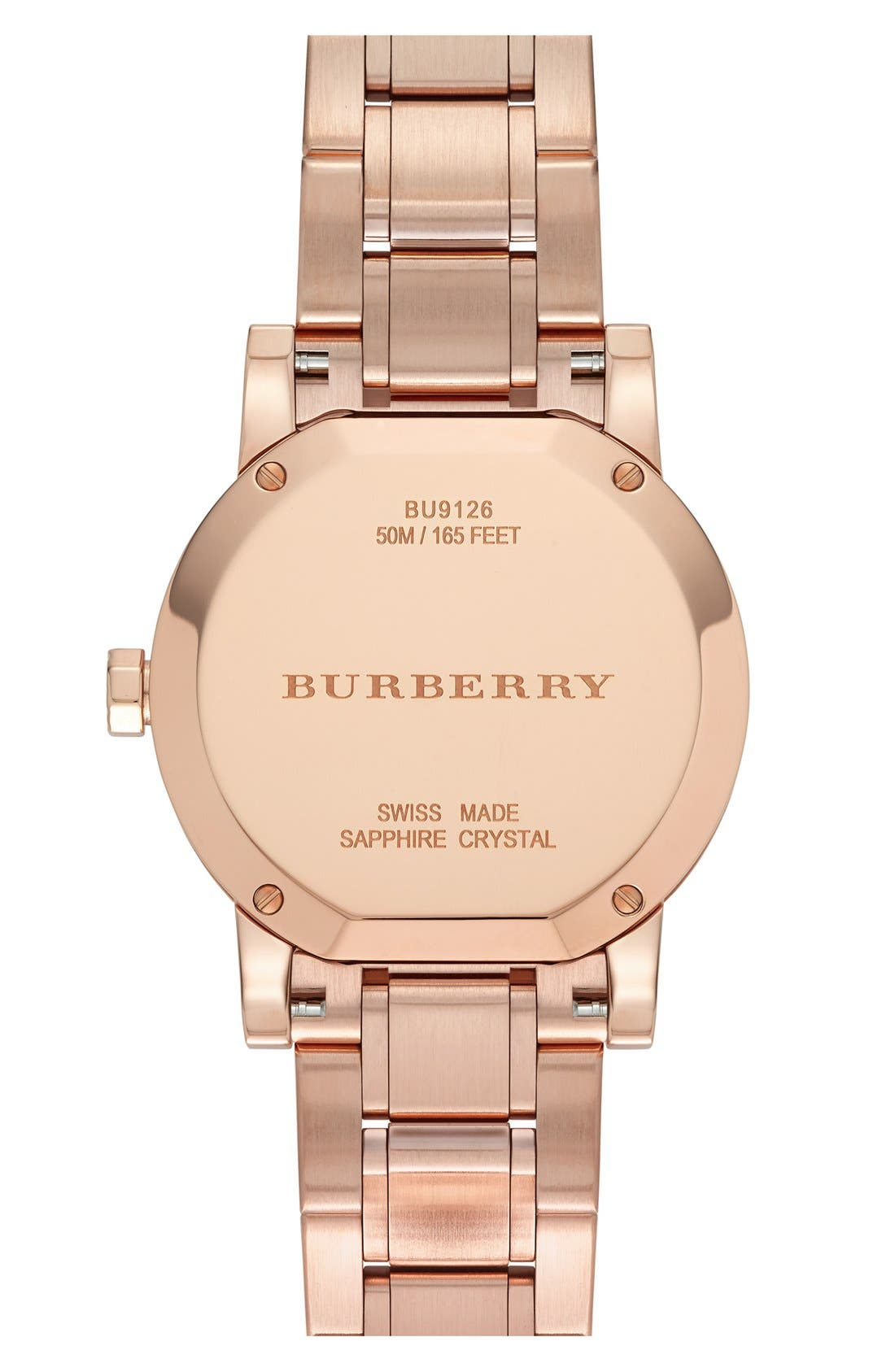 Alternate Image 3  - Burberry Diamond Dial Bracelet Watch, 34mm