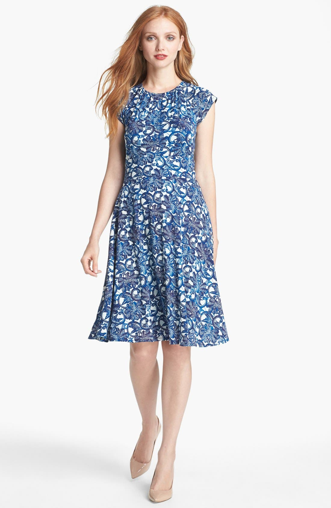 Alternate Image 1 Selected - Tory Burch 'Sophia' Silk Fit & Flare Dress