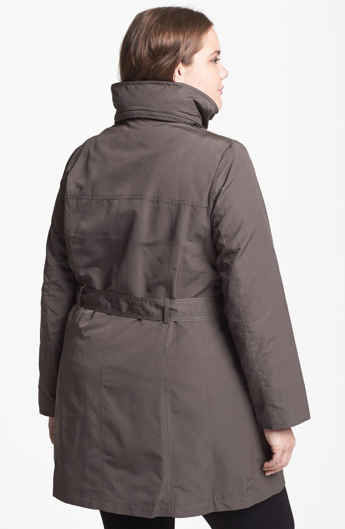 Alternate Image 3  - Ellen Tracy Trench Coat with Hidden Hood (Plus Size)