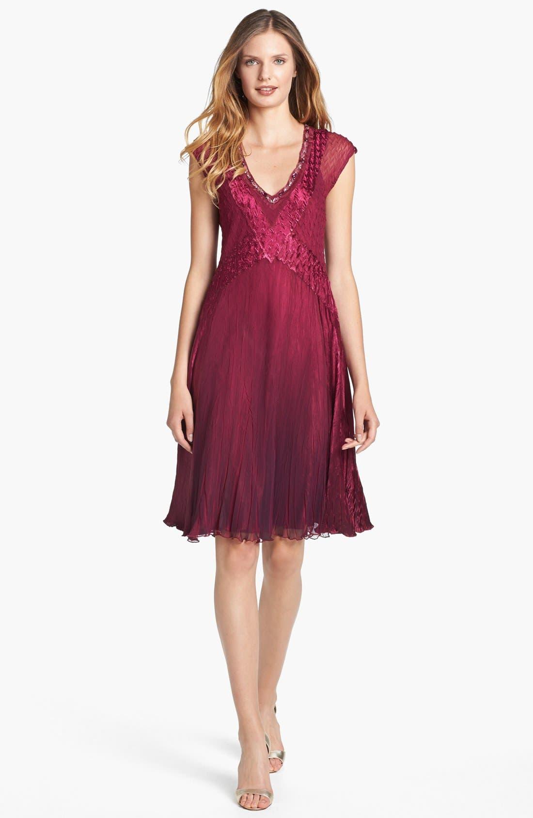 Main Image - Komarov Embellished Satin & Chiffon Dress
