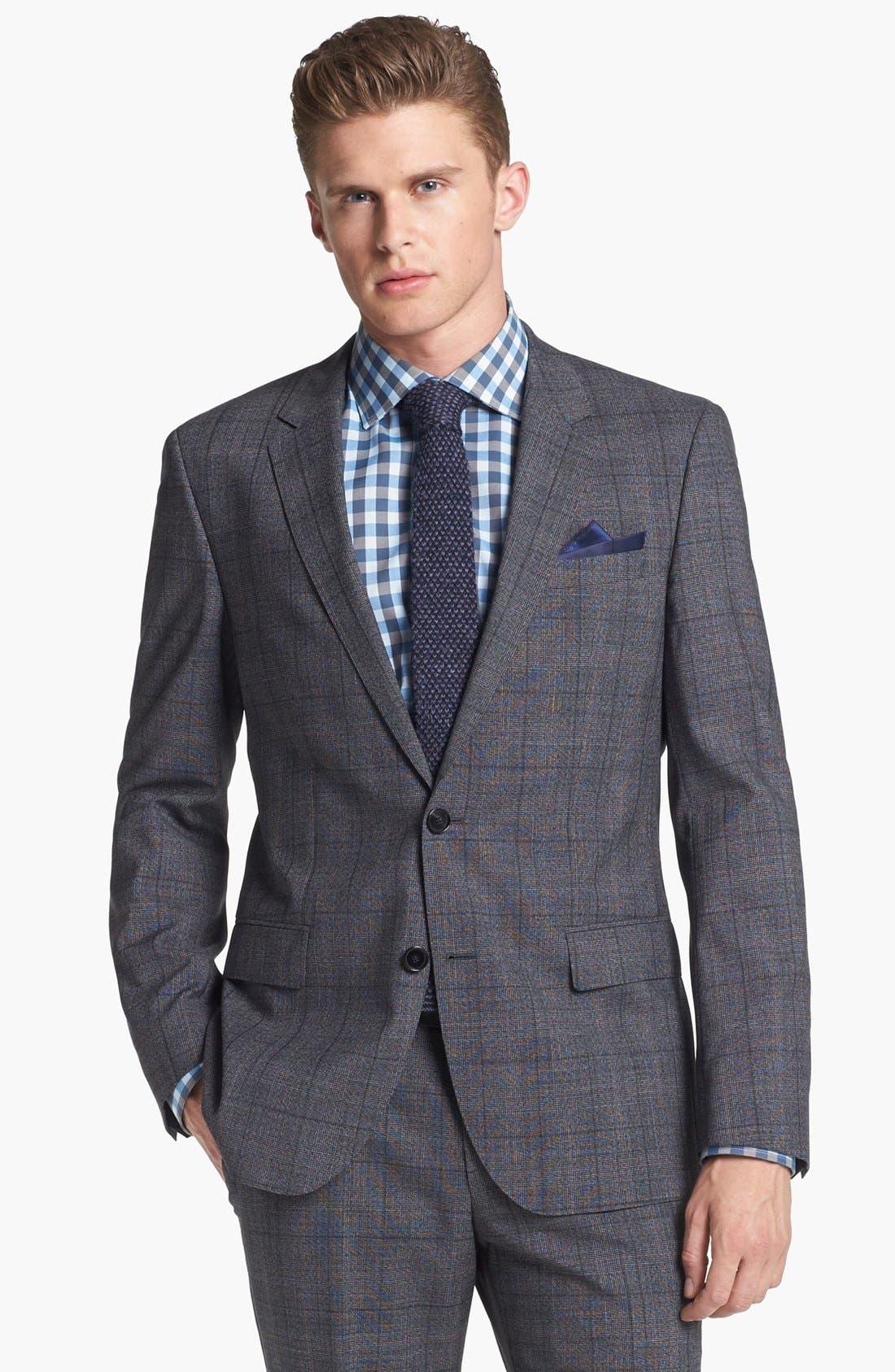 Alternate Image 4  - BOSS HUGO BOSS 'Huge/Genius' Trim Fit Plaid Suit