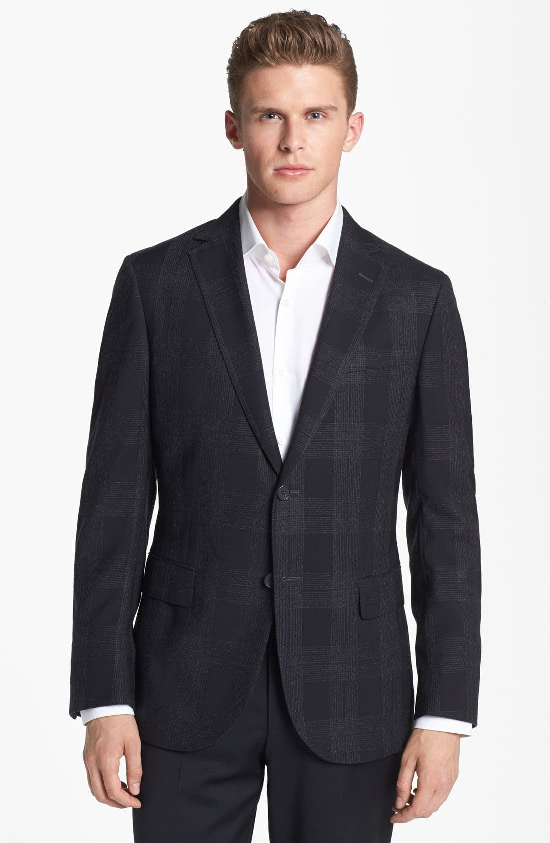 Alternate Image 1 Selected - Z Zegna Trim Fit Check Sportcoat