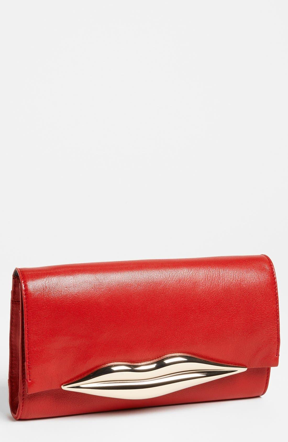 Main Image - Diane von Furstenberg 'Flirty' Leather Clutch