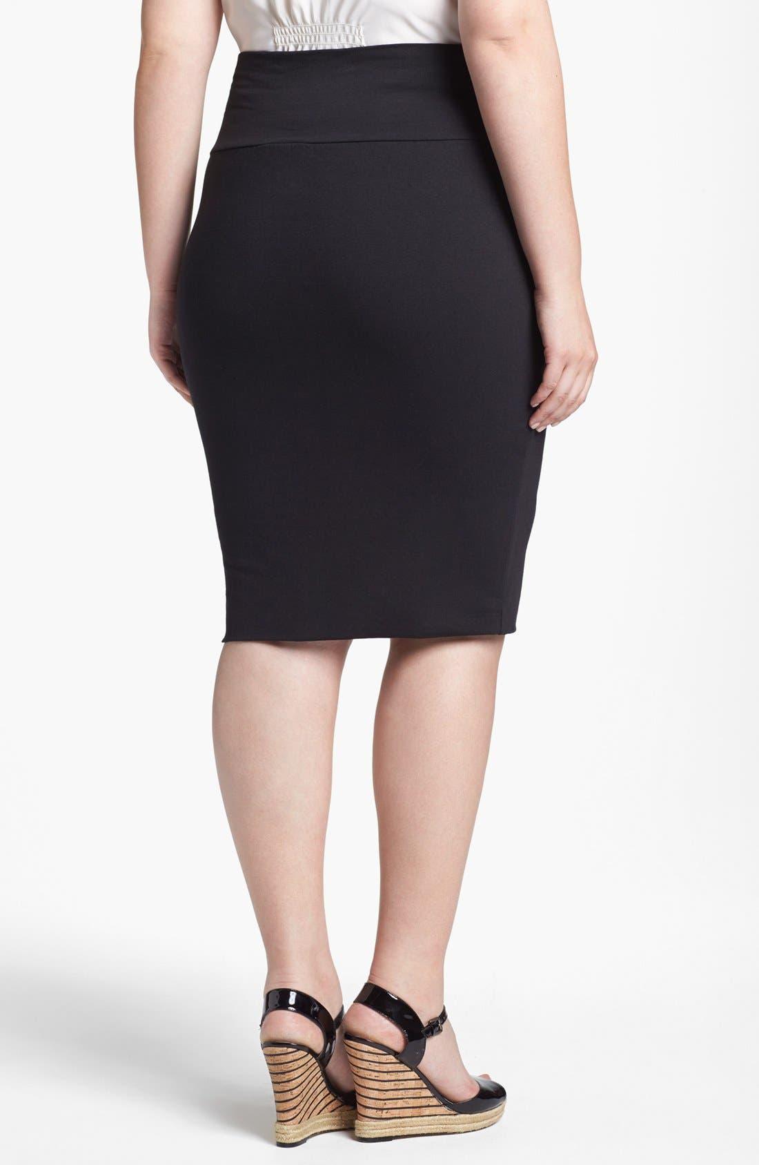 Alternate Image 2  - Lily White Pencil Skirt (Juniors Plus)