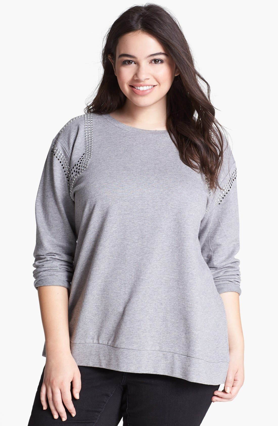 Main Image - Two by Vince Camuto Studded Sweatshirt (Plus Size)