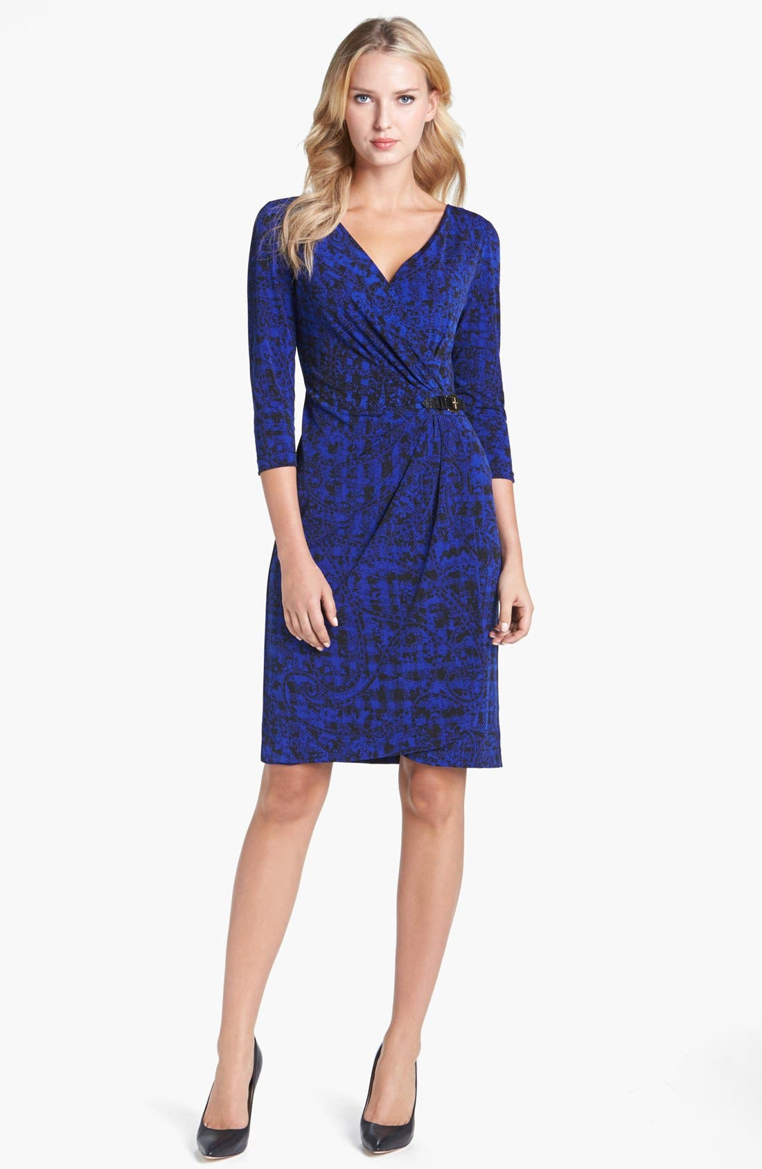 Main Image - Tahari Print Jersey Faux Wrap Dress