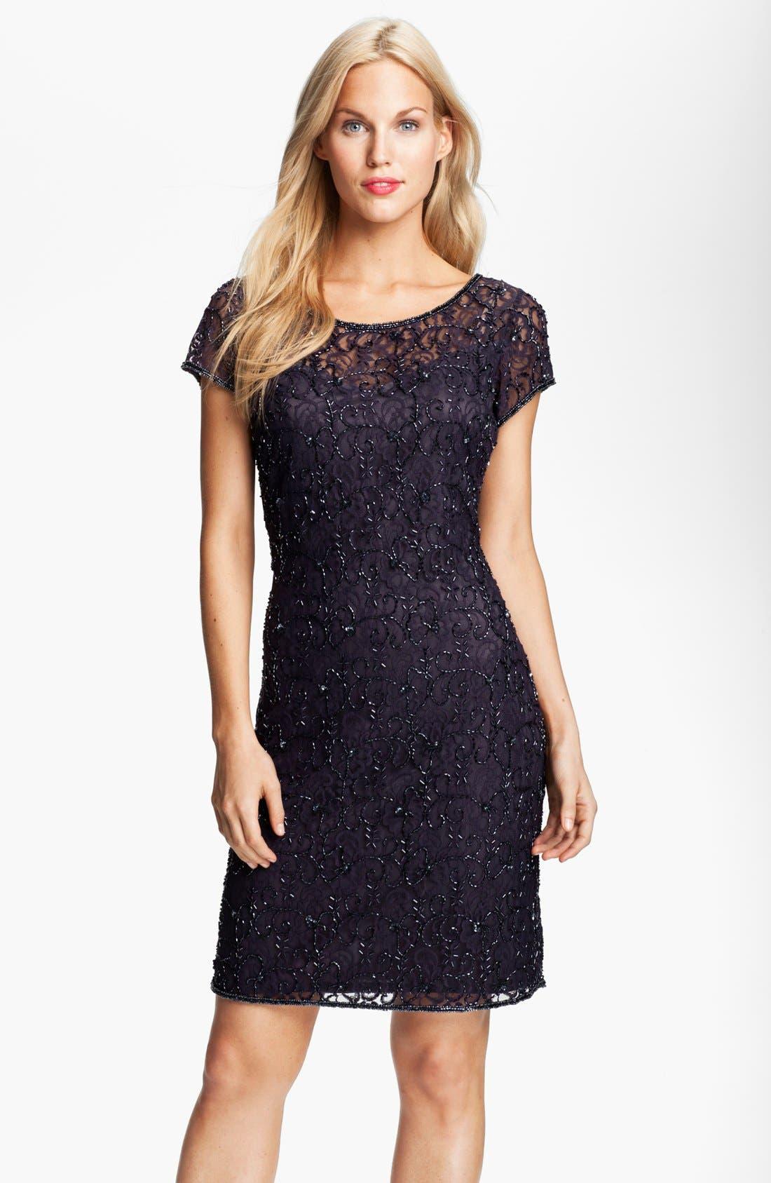 Alternate Image 1 Selected - Pisarro Nights Beaded Lace Sheath Dress (Petite)