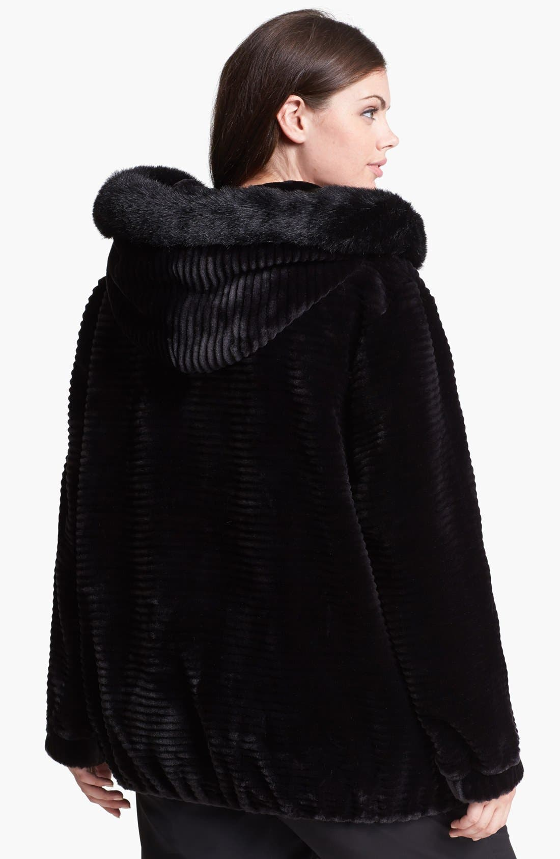 Alternate Image 2  - Gallery Hooded Faux Fur Blouson Jacket (Plus Size)