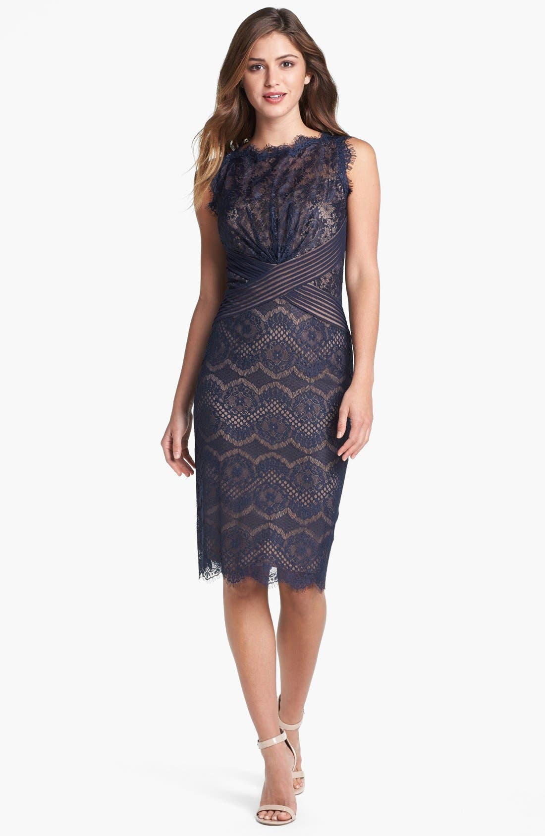 Alternate Image 1 Selected - Tadashi Shoji Lace Sheath Dress (Regular & Petite)