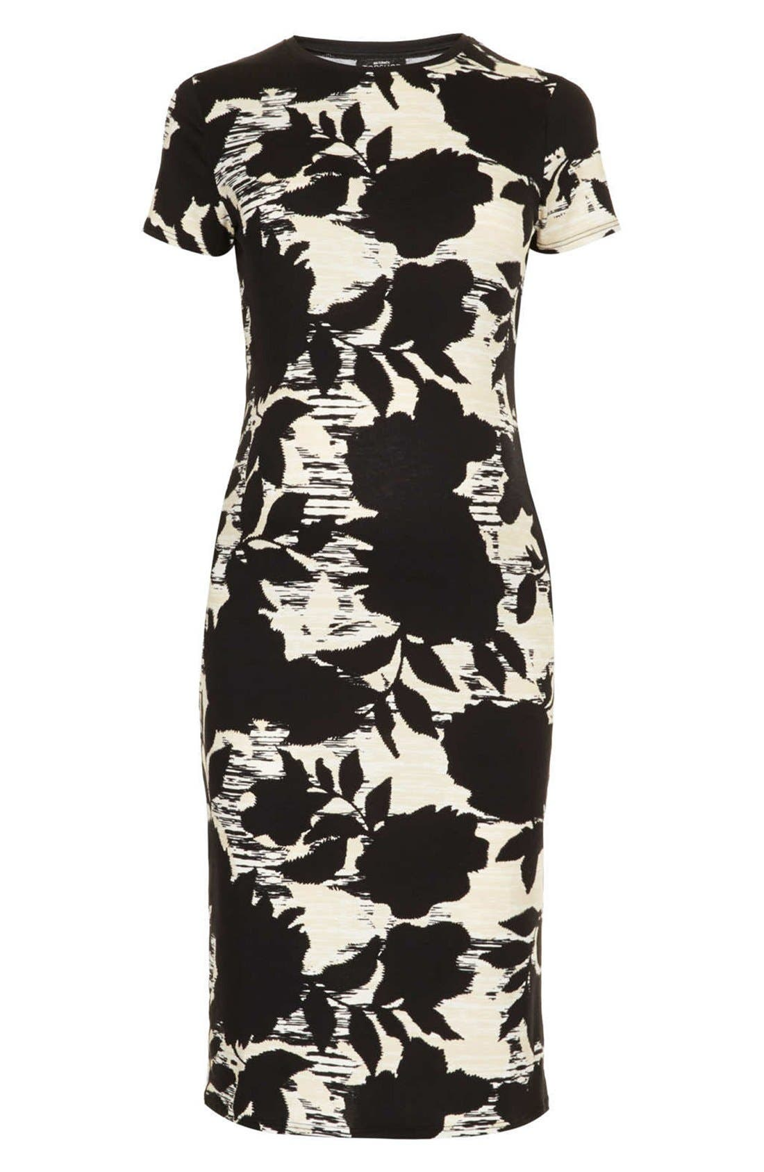 Alternate Image 1 Selected - Topshop 'Craft Dark Flower' Body-Con Maternity Dress