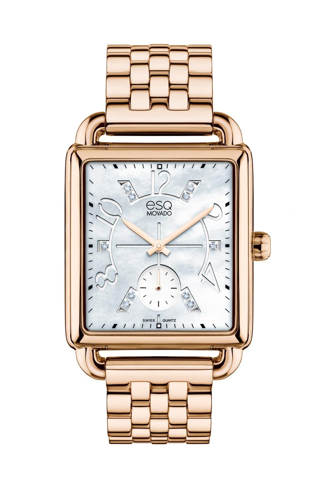 Main Image - ESQ Movado 'Origin' Diamond Accent Rectangular Bracelet Watch, 30mm
