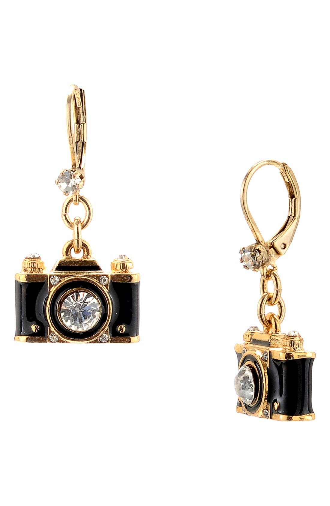 Alternate Image 1 Selected - Betsey Johnson Camera Drop Earrings
