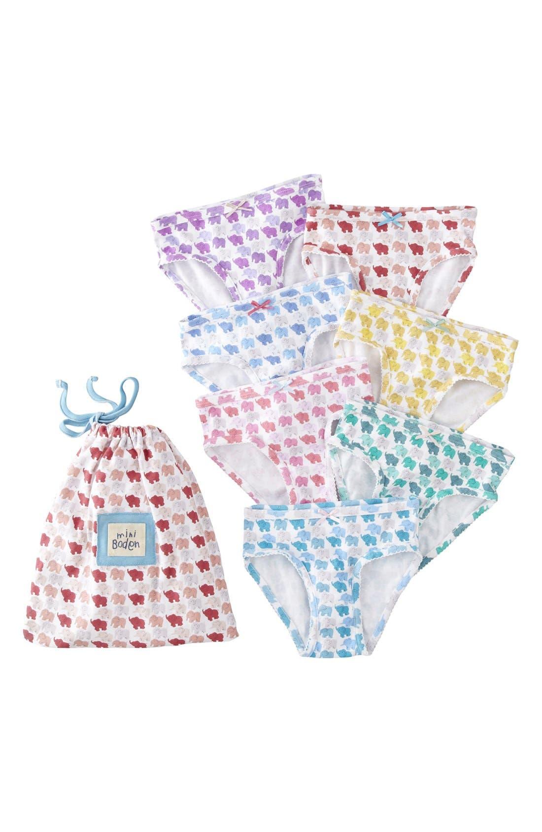 Alternate Image 1 Selected - Mini Boden Brief Underwear (7-Pack) (Little Girls & Big Girls)