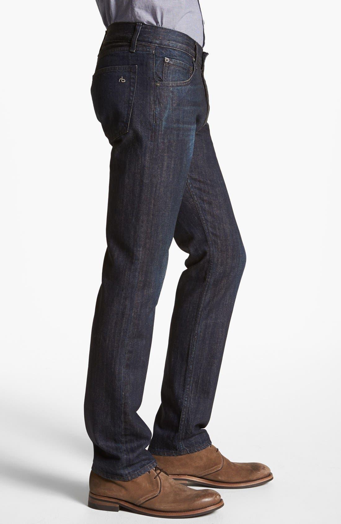 Alternate Image 3  - rag & bone 'RB15X' Slim Straight Leg Jeans (Indigo Flint)