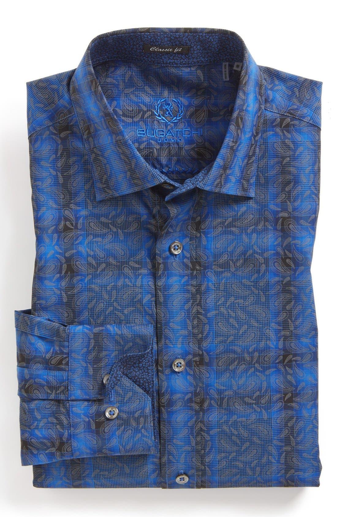 Alternate Image 2  - Bugatchi Paisley Check Classic Fit Cotton Sport Shirt (Tall)