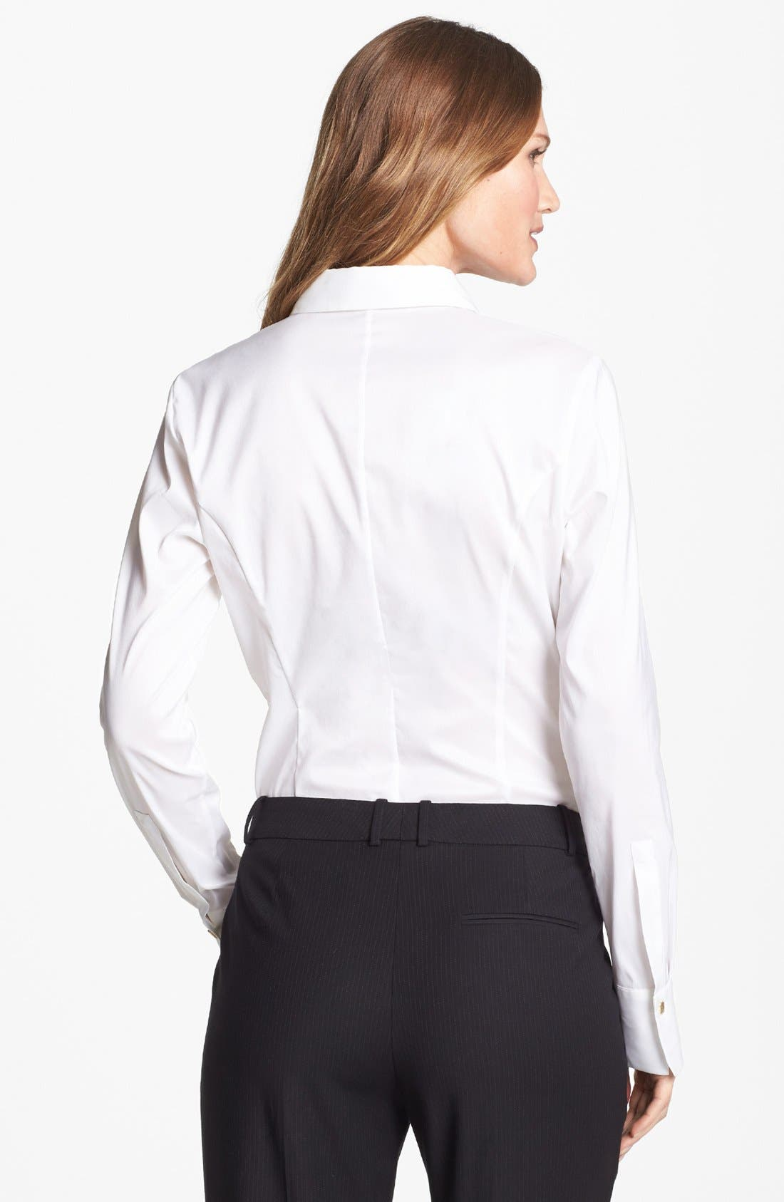Alternate Image 2  - BOSS HUGO BOSS 'Bashinovel' Organza Trim V-Neck Fitted Blouse