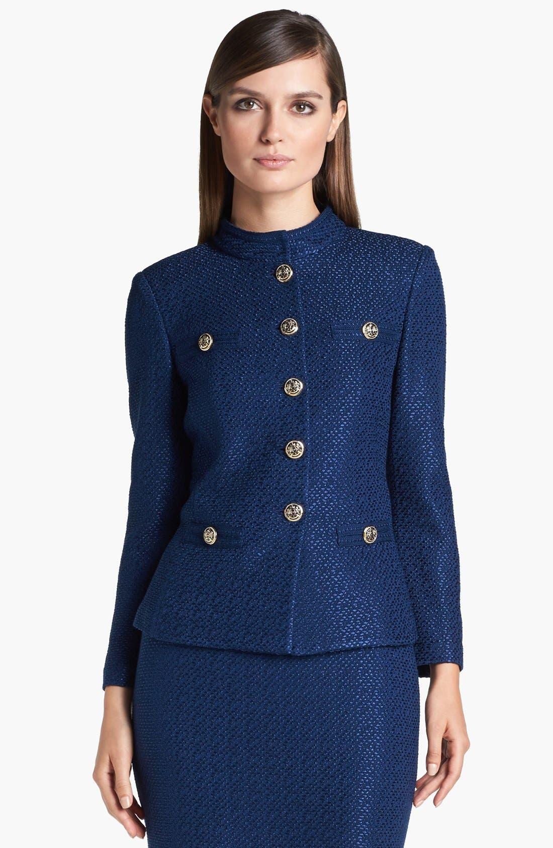 Main Image - St. John Collection Stand Collar Tonal Dot Knit Jacket