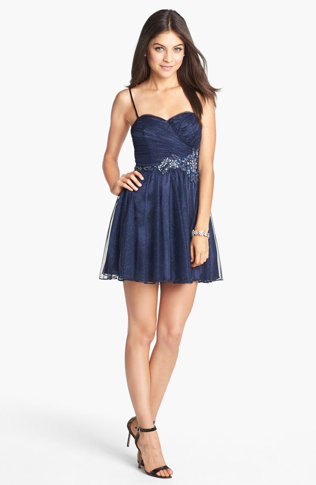 Alternate Image 1 Selected - Trixxi Embellished Mesh Party Dress (Juniors) (Online Only)