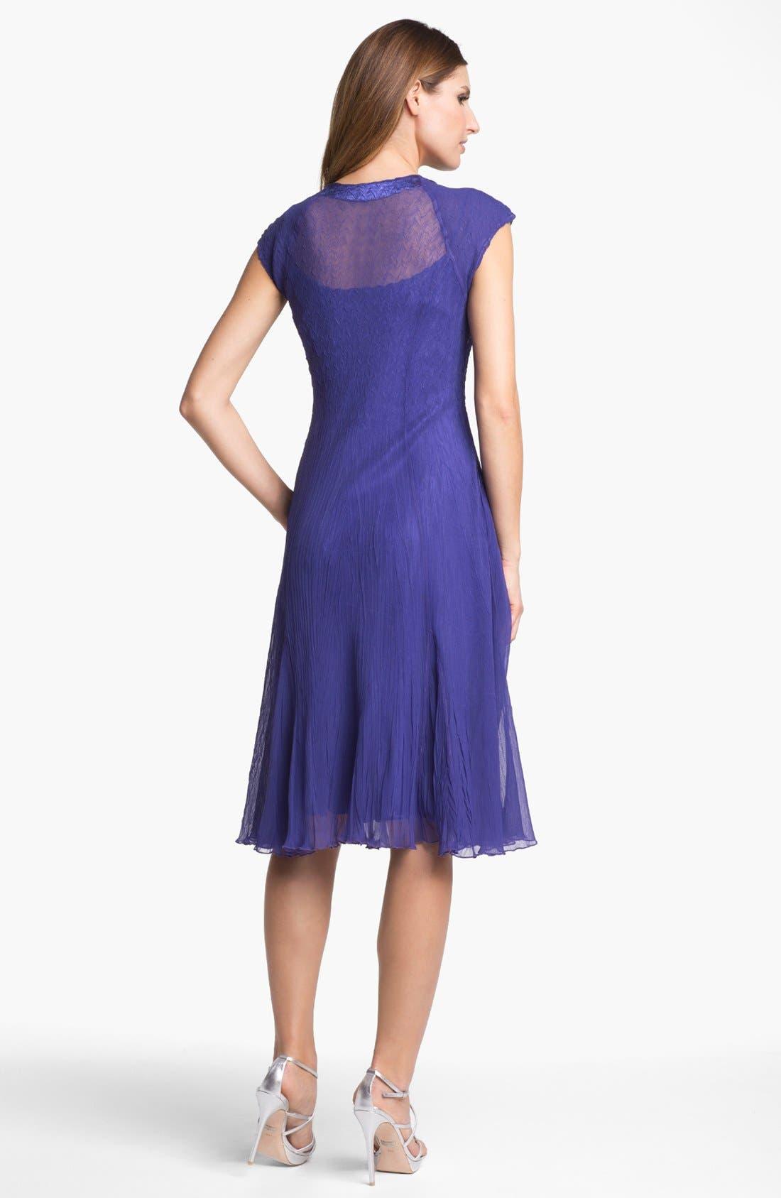 Alternate Image 2  - Komarov Embellished Textured Chiffon Dress (Petite)