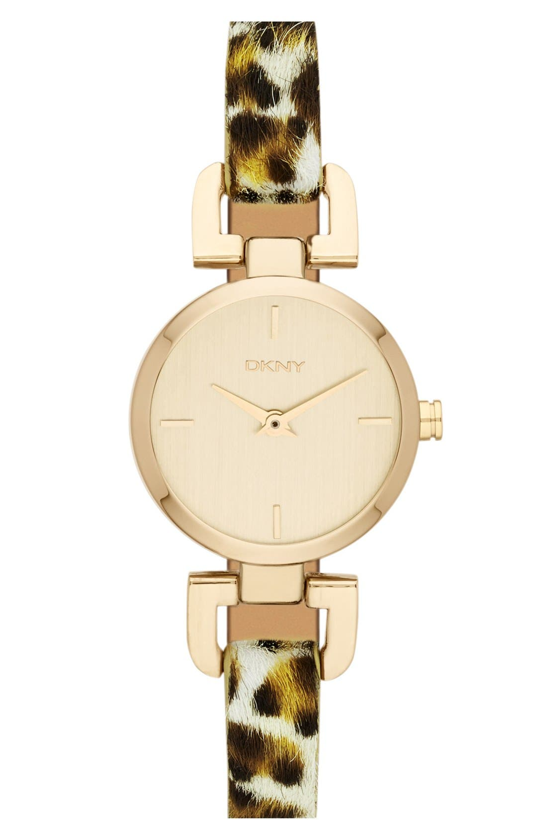 Main Image - DKNY Round Calf Hair Strap Watch, 24mm