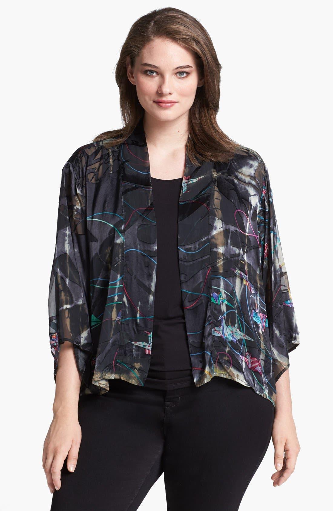 Main Image - Citron Print Open Front Silk Blend Jacket (Plus Size)
