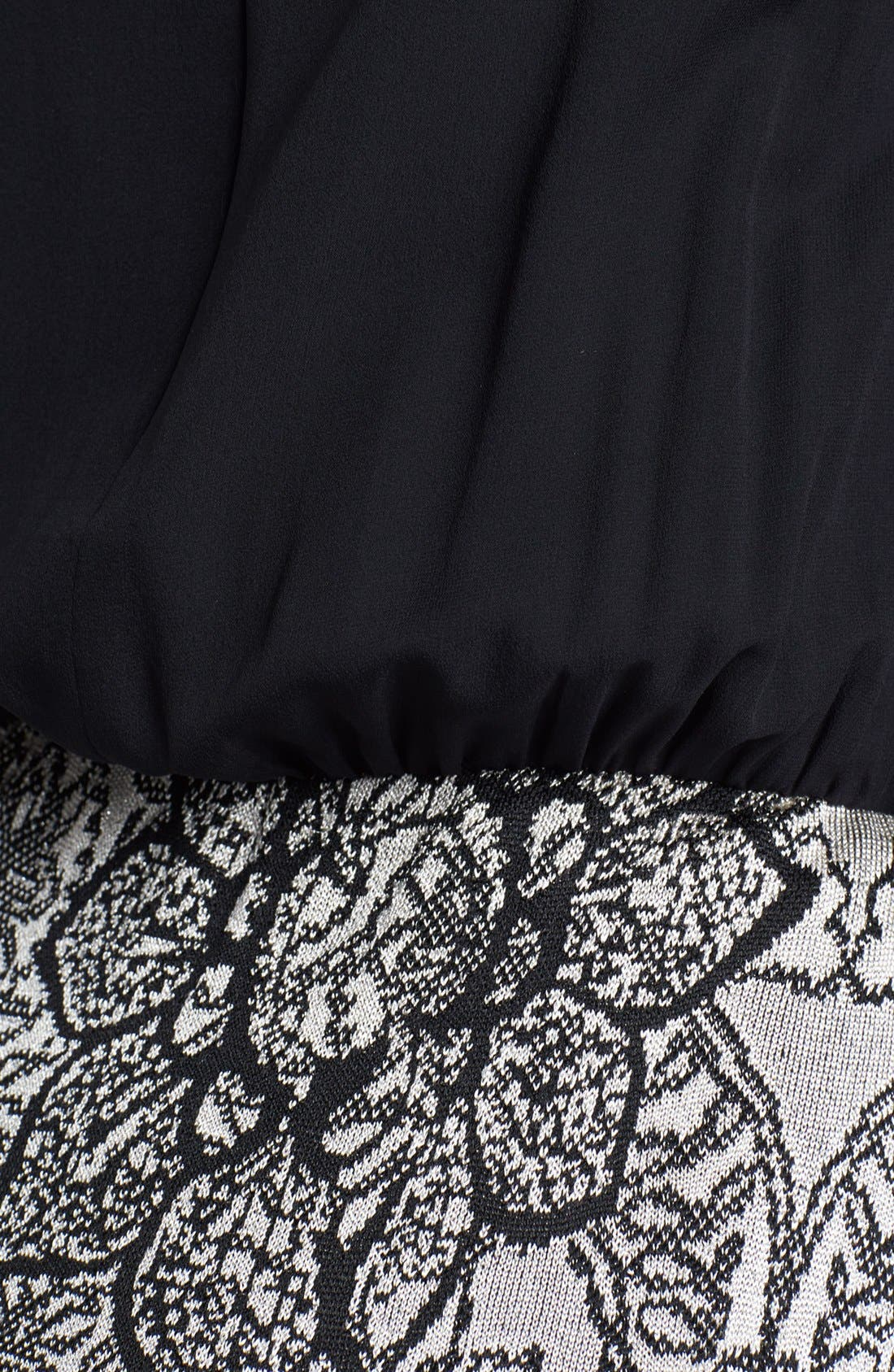 Alternate Image 3  - St. John Collection Silk Georgette & Floral Jacquard Gown