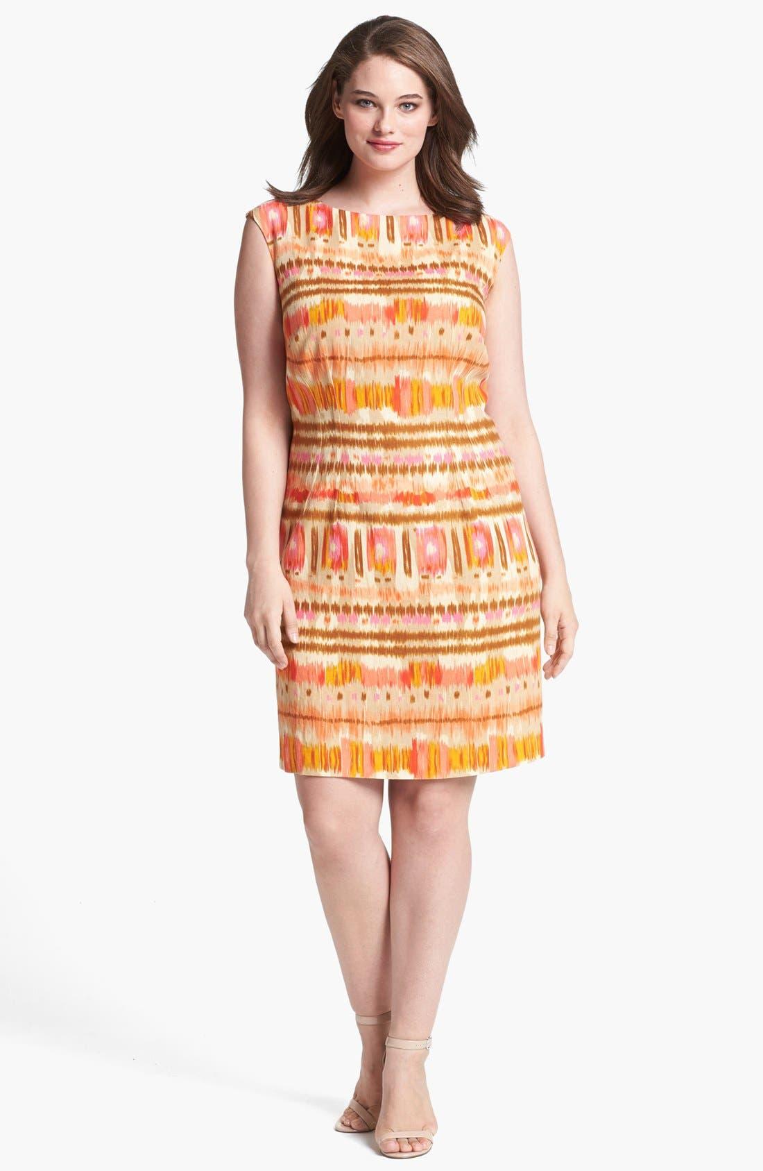 Main Image - Tahari Ikat Print Sheath Dress (Plus Size)