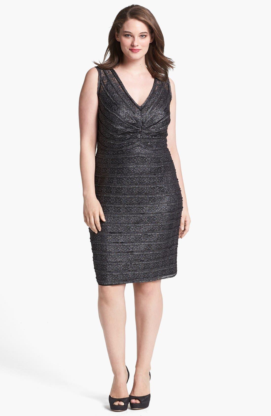 Alternate Image 1 Selected - Calvin Klein Metallic Lace Sheath Dress (Plus Size)