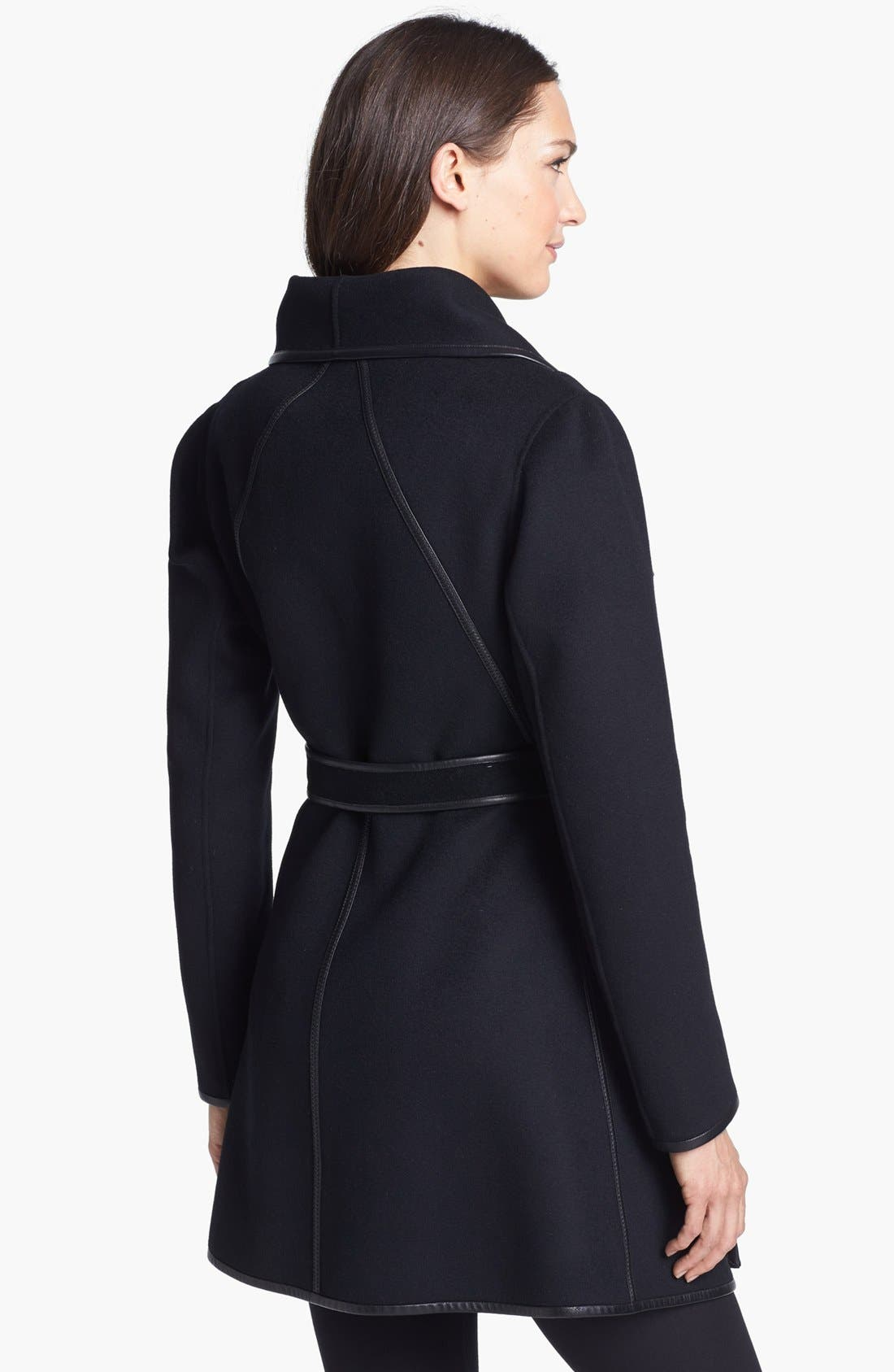 Alternate Image 2  - Dawn Levy 'Harper' Leather Trim Wool Wrap Coat